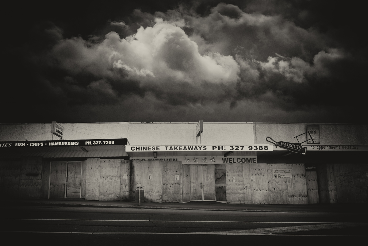 landscape back and white sepia derelict shops fine art photography photographer Canterbury Christchurch New Zealand