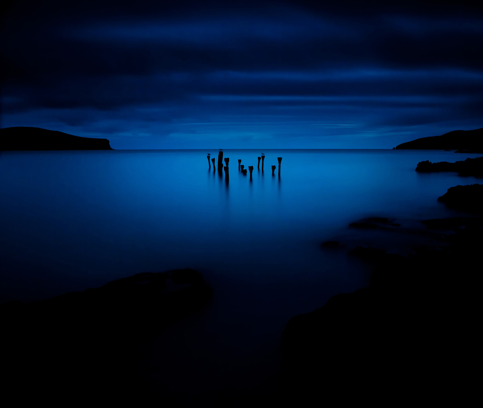 landscape seascape low light blue pier photography photographer Canterbury Christchurch New Zealand