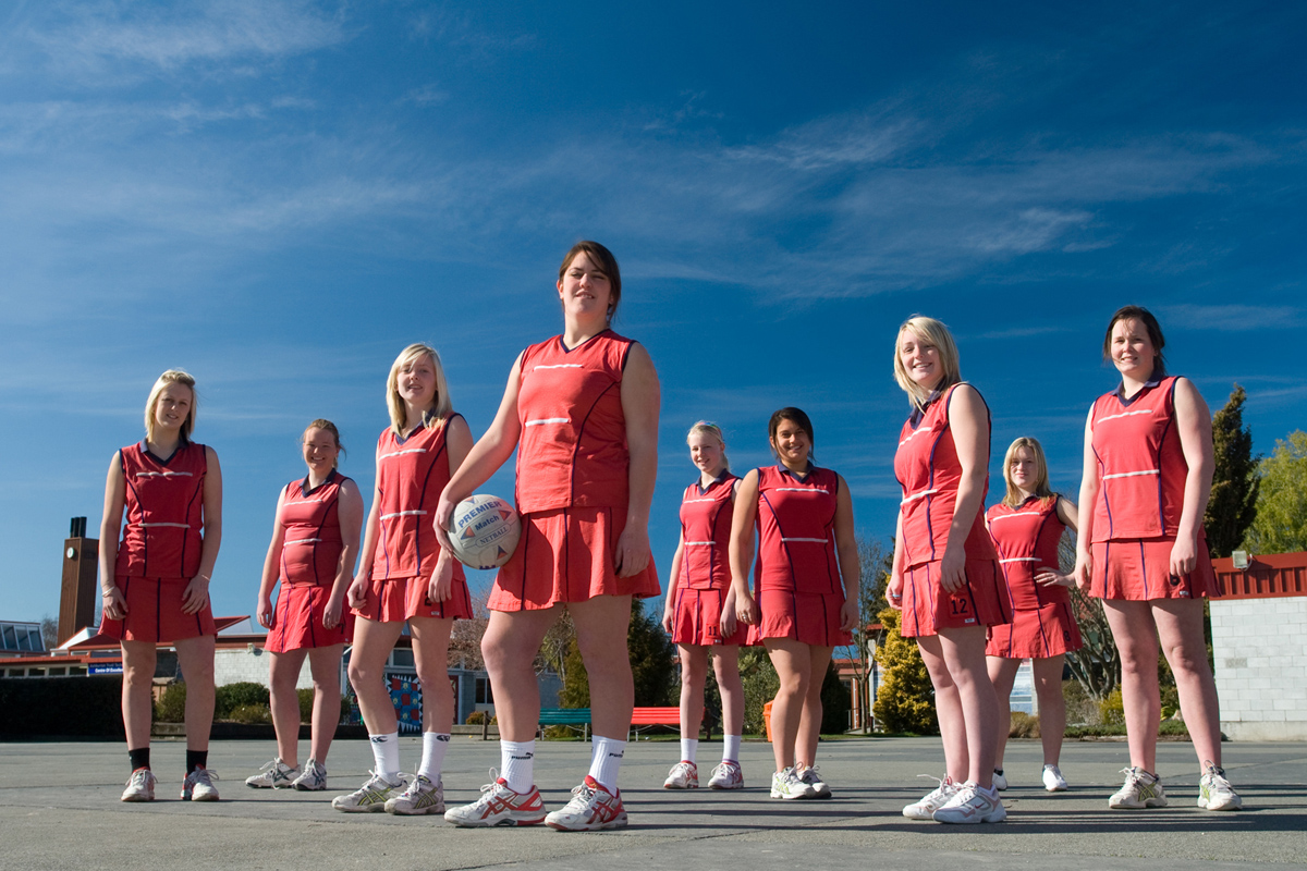 large team netball sport group commercial advertising photography photographer Canterbury Christchurch New Zealand